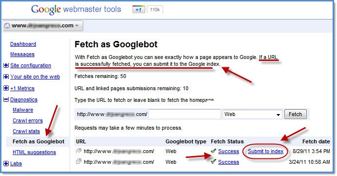 fetch as google bot در وبمستر